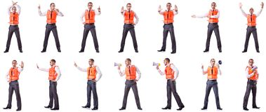 The businessman with rescue safety vest on white Royalty Free Stock Image
