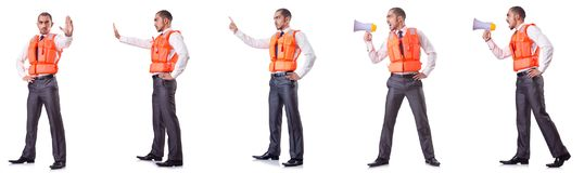 The businessman with rescue safety vest on white Royalty Free Stock Photos