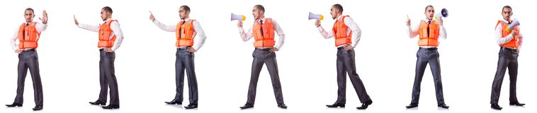 The businessman with rescue safety vest on white Royalty Free Stock Images