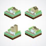 Businessman residential home isometric cartoon. Art illustration Royalty Free Stock Image