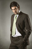 Businessman with resolute gaze. Elegant businessman with resolute gaze in fashion pose . Grey backdrop Stock Photos