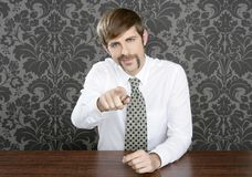 Businessman retro on office table salesperson. Vintage wallpaper stock photography