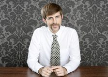 Businessman retro on office table salesperson. Vintage wallpaper royalty free stock image