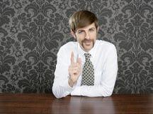 Businessman retro on office table salesperson. Vintage wallpaper stock photos