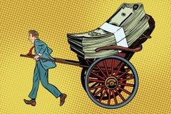 Businessman rickshaw transports money royalty free illustration