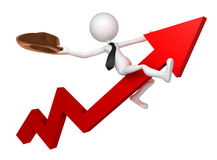 Businessman ride a stock market graph Royalty Free Stock Photos