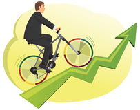 Businessman rides a bike Royalty Free Stock Image