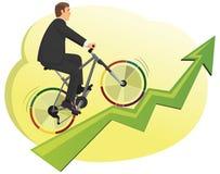 Businessman rides a bike Royalty Free Stock Image