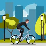 Businessman riding on the bike and hurrying to work. Royalty Free Stock Photos