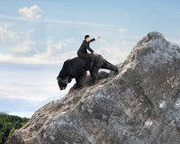 Businessman riding black bear climbing on mountain peak with sky Royalty Free Stock Photography
