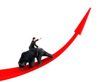 Businessman riding black bear on red arrow up trend line Royalty Free Stock Image