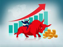 Businessman riding on bull, Bullish stock market concept. gold coins with graph, profit growing concept, business success, stock royalty free illustration