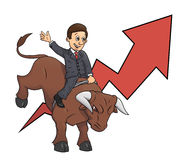 Businessman is riding bull 3. Illustration of the confident businessman riding big angry bull symbolizing success and risk in  business Stock Photos