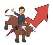 Businessman is riding bull 3 Stock Photos