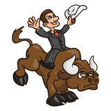 Businessman is riding bull 2. Illustration of the confident businessman riding big angry bull symbolizing success and risk in business Stock Photos