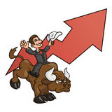 Businessman is riding bull 4. Illustration of the confident businessman riding big angry bull symbolizing success and risk in business Royalty Free Stock Photography