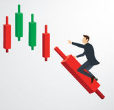 Businessman riding on Candlestick chart icon vector. EPS 10 royalty free illustration