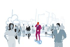 Businessman riding electric scooter phone calling at street out from crowd people silhouettes individuality leadership. Concept cityscape background sketch vector illustration