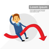 Businessman Riding Financial Graph Red Arrow. Negative Fall Down Flat Vector Illustration Royalty Free Stock Images