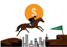 Businessman riding a horse over obstacles across the hill. Royalty Free Stock Photography