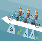 Businessman riding a long bicycle on white arrow. Royalty Free Stock Photos