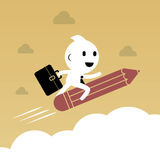 Businessman riding pencil over the cloud. Abstract Business  Stock Photography