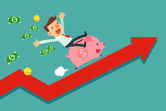 Businessman riding piggy bank on arrow graph Royalty Free Stock Photos