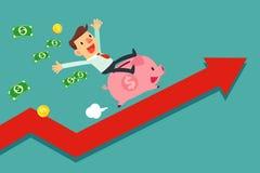 Businessman riding piggy bank on arrow graph Royalty Free Stock Photos