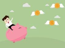 Businessman riding piggy bank to catch coin money Stock Image