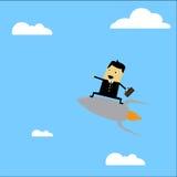 Businessman riding. A rocket illustration Stock Photography