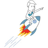 Businessman riding rocket pointing forward. Vector illustration of a monochrome cartoon character: Businessman riding a rocket pointing forward vector illustration