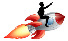 Businessman riding rocket ship. A businessman seated riding a rocket. Concept for innovation, success or breaking new ground in business royalty free illustration
