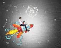 Businessman riding rocket sketch Stock Photo