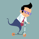 Businessman riding a scooter. Businessman or excellence in glasses rides a scooter royalty free illustration