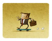 Businessman riding on a skateboard Royalty Free Stock Images