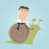 Businessman riding a slow snail Stock Photo