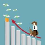 Businessman riding snail Stock Images