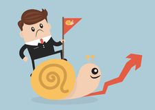 Businessman riding Snail slowly walk on arrow growth. Businessman riding Snail slowly walk on arrow growth, vector illustion flat design style Royalty Free Stock Photography