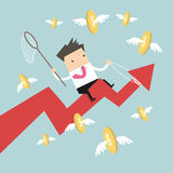 Businessman riding success arrow graph catch flying coins Stock Photos