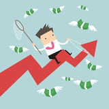 Businessman riding success arrow graph trying to catch money fly Stock Photo