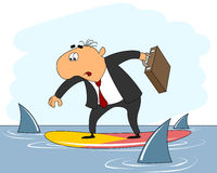 Businessman riding surfboard Royalty Free Stock Photo