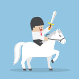 Businessman Riding White Horse And Holding Sword Royalty Free Stock Photography