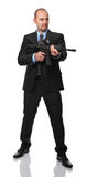 Businessman with rifle. Isolated on white Royalty Free Stock Images