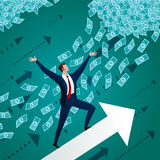 Businessman rises towards to success Stock Images