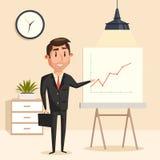 Businessman with rising graph at seminar Royalty Free Stock Images