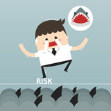 Businessman in risk, , flat design Royalty Free Stock Photos