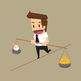 Businessman risks balancing Time and Money. Vector Stock Photography