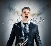 Businessman robot explosion Royalty Free Stock Photos