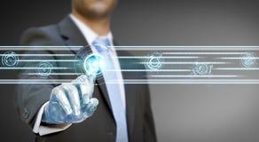 Businessman robot hand Stock Photos