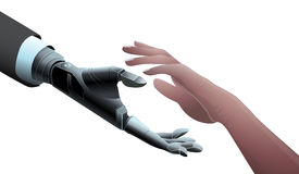 Businessman Robot Mechanical Hand giving hand to Human. Offer, Deal, Partnership concept. Royalty Free Stock Image